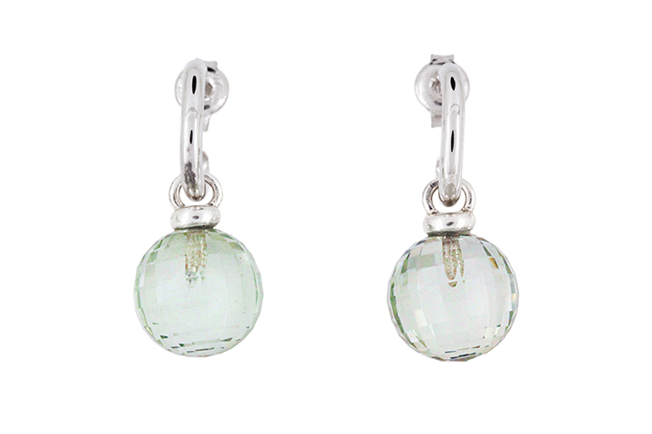 Prassiolite Briolette Drop Earrings in 9ct White Gold