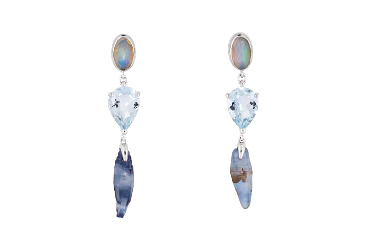 Aquamarine, Opal and Blue Sapphire Crystal Earrings