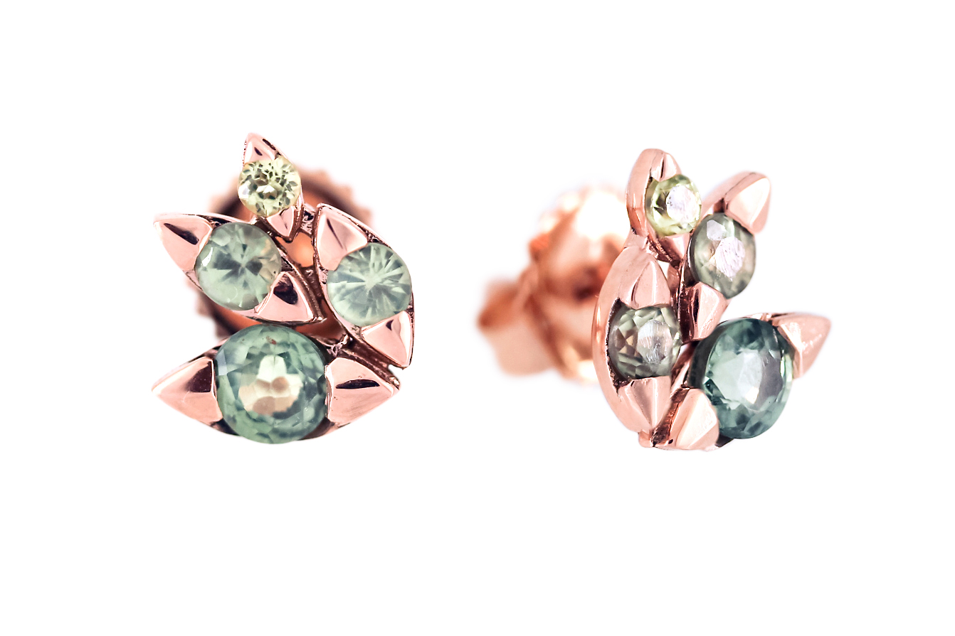 Green Sapphires in 9ct Rose Gold Earrings