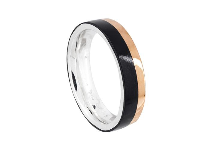 Silver and 9ct Rose Gold Gents Ring with Black Inlay