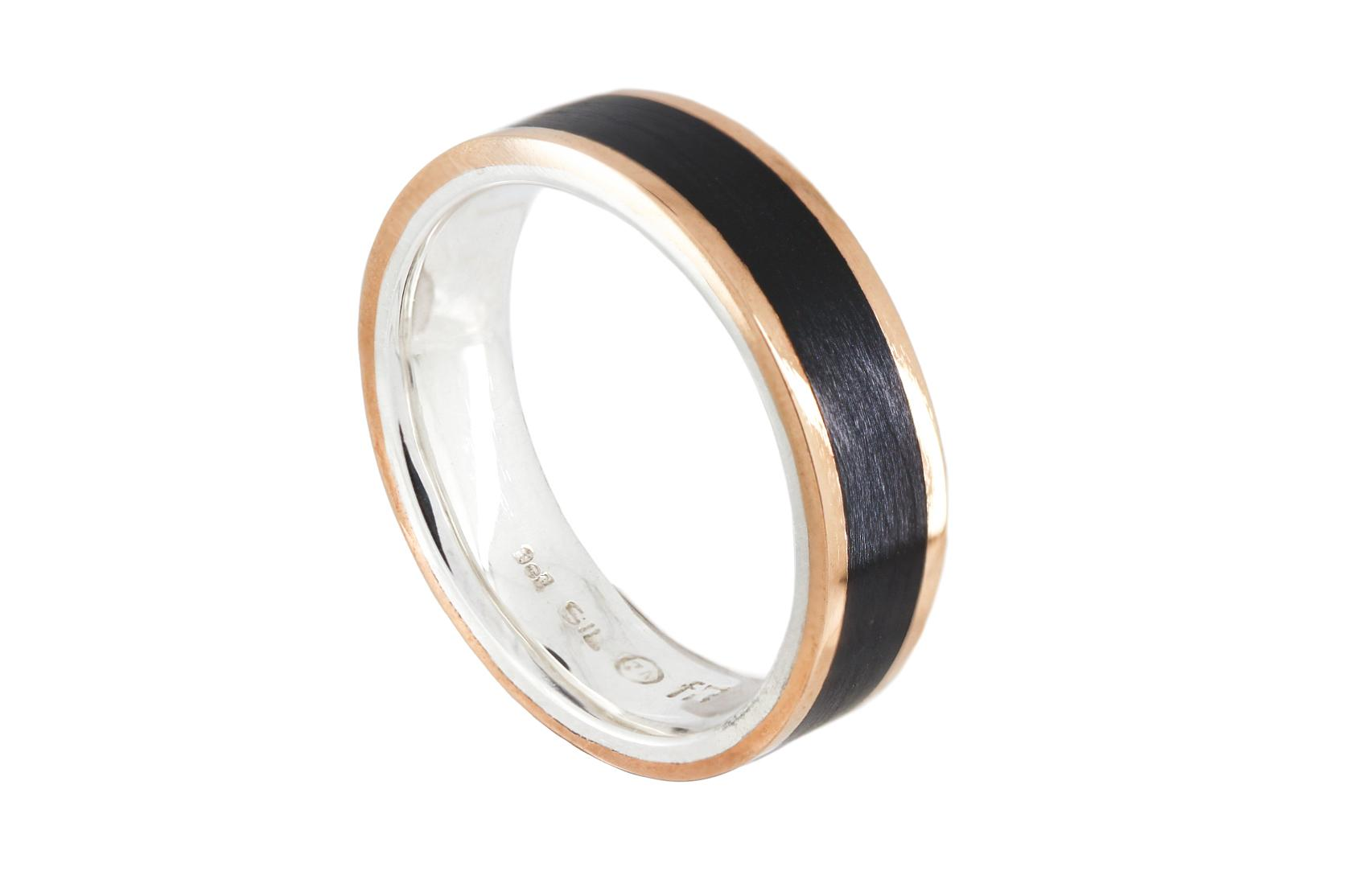 Silver and 9ct Rose Gold with Black Inlay