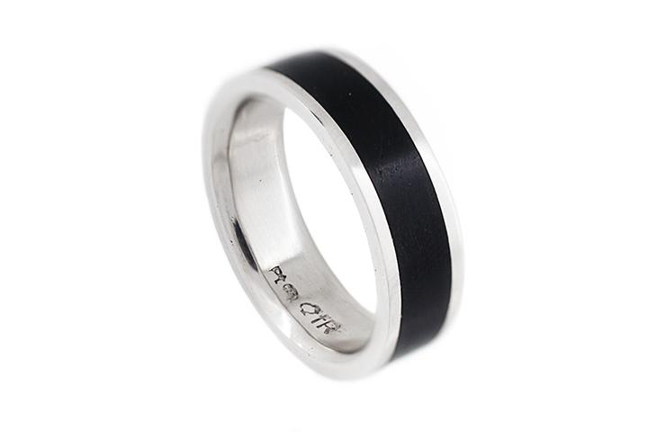 Platinum & African Blackwood Gents Ring