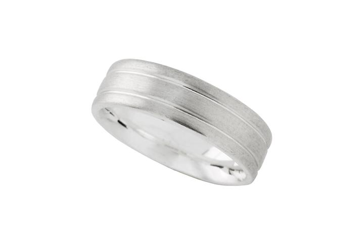Silver Grooved Gents Ring