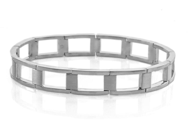 Gent's Silver Bracelet with Watch Strap Styled Links