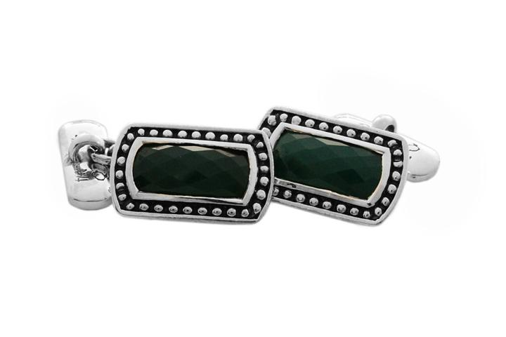 Silver Cufflinks with Green Agate
