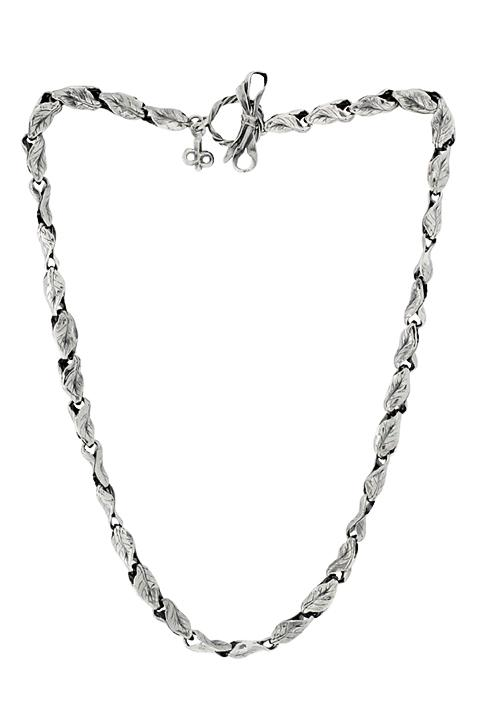Silver Twist Leaf Necklace