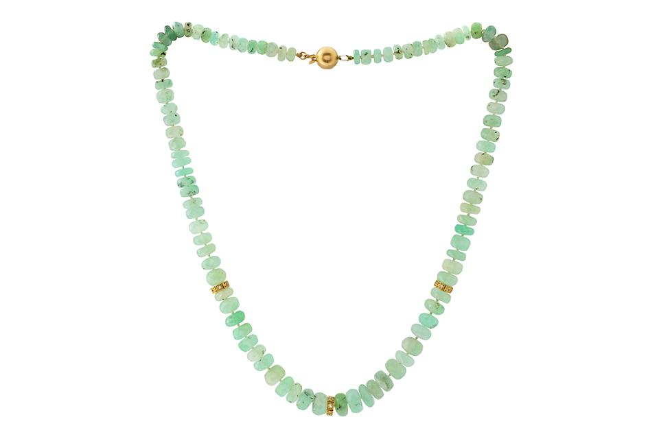 Chrysoprase Necklace with Prassiolite and Diamond Pendant