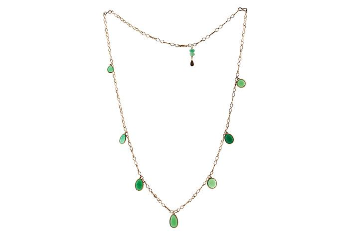9ct Yellow Gold Chrysoprase Necklace