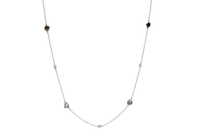 Diamond-in-the-Rough 9ct White Gold Mitzvah Necklace