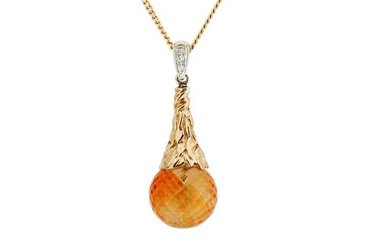 Yellow & White Gold Citrine & Diamond Pendant