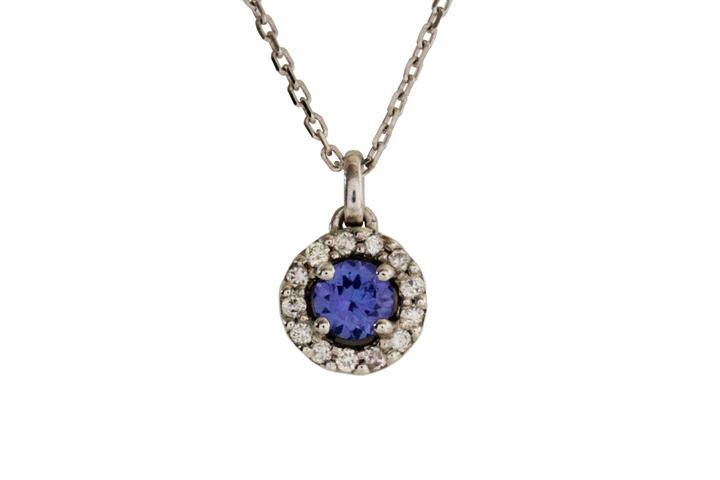 Tanzanite and Diamond 9ct White Gold Pendant