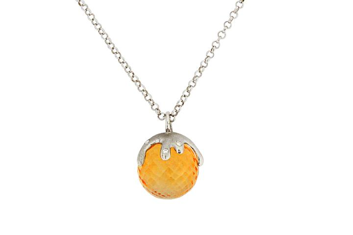 9ct White Gold Citrine and Diamond Pendant - 50% OFF!