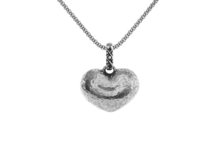 Silver Oxidized Puffy Textured Heart Pendant