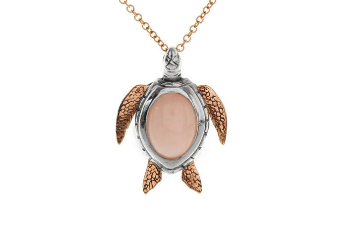 Silver & 9ct Rose Gold Pink Opal Turtle Pendant