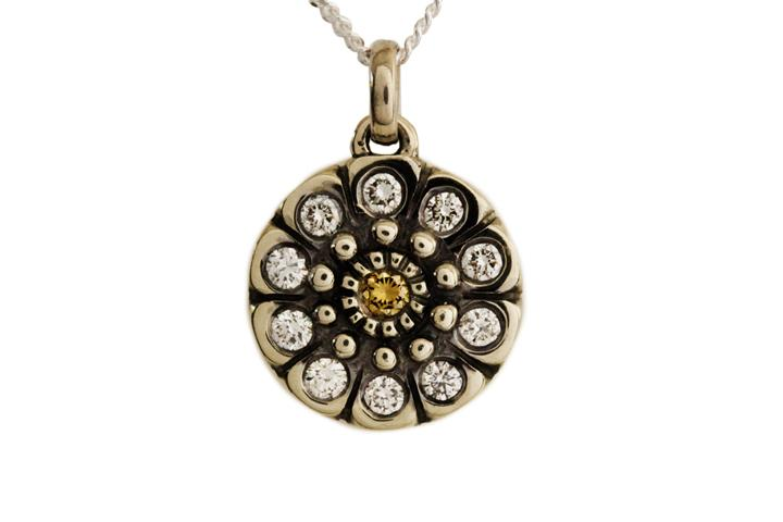White gold snowflake pendant with cognac and white diamonds 9ct white gold snowflake pendant with cognac and white diamonds aloadofball Images