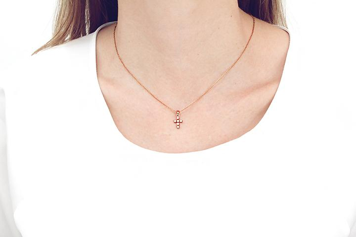 9ct rose gold diamond cross pendant aloadofball Image collections