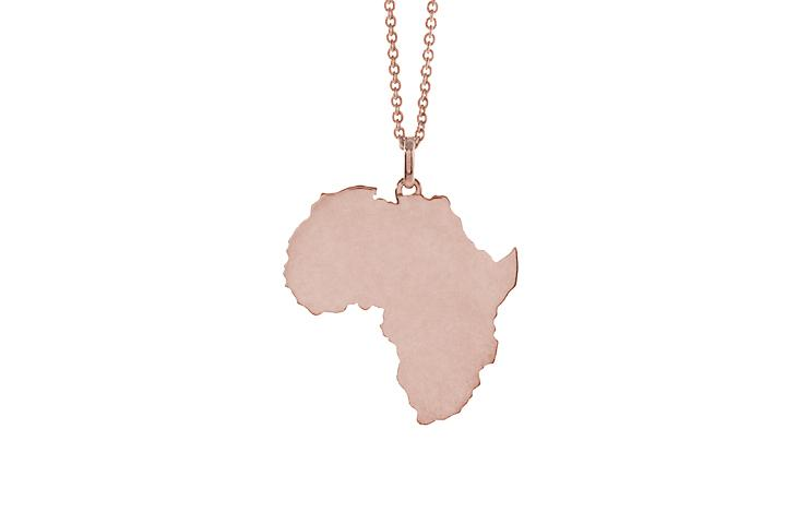 9ct Rose gold solid Africa pendant (lrg)