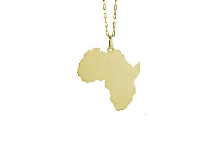 9ct Yellow gold solid Africa pendant (lrg)