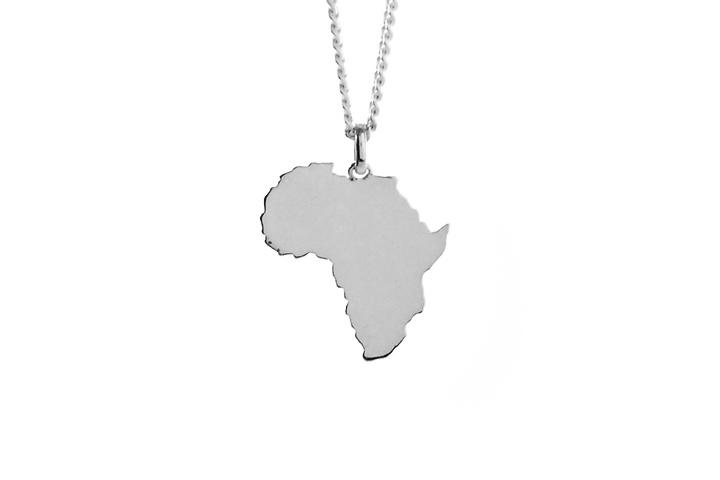 Silver solid Africa pendant (sml)