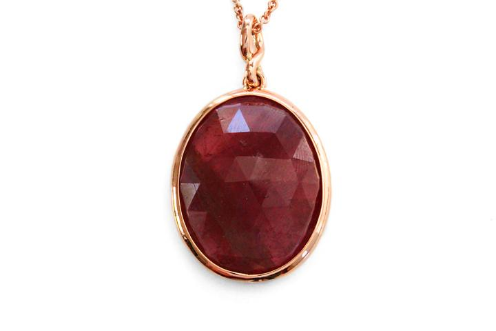 9ct Rose gold Oval Pink Tourmaline pendant