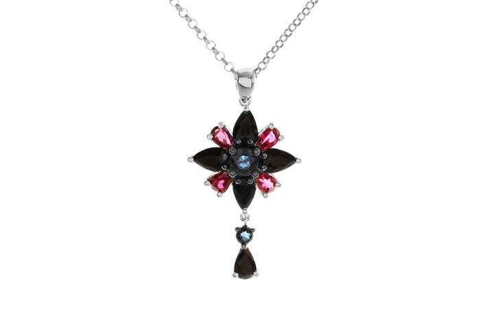 9ct White Gold Pendant with Black and Blue Sapphires, and Rubies