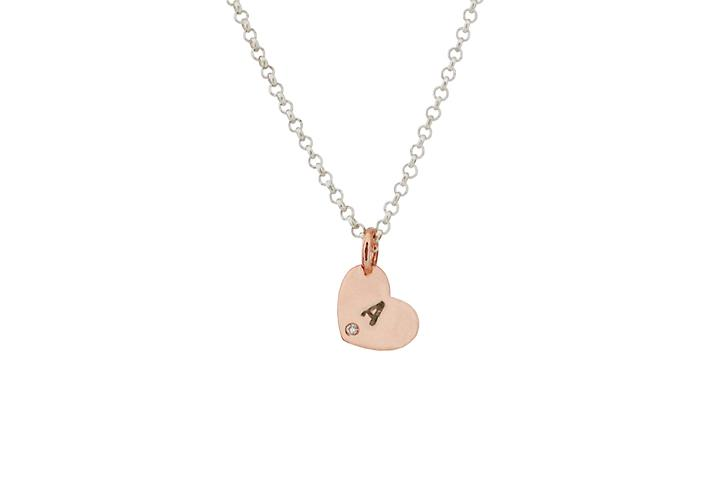 9ct rose gold Personalised diamond heart pendant set