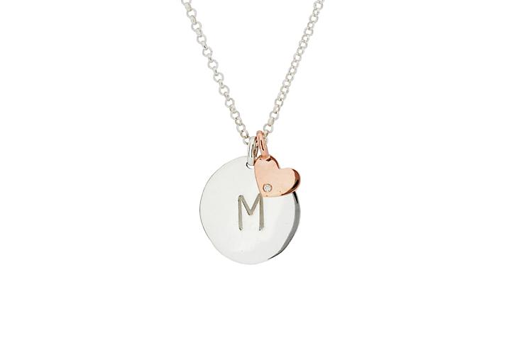 Silver Disc with 9ct Rose Gold and Diamond Heart Pendant