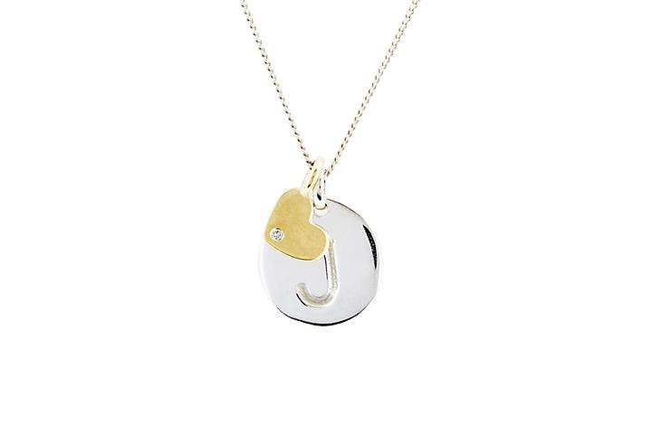 Silver Disc with 9ct Yellow Gold and Diamond Heart Pendant