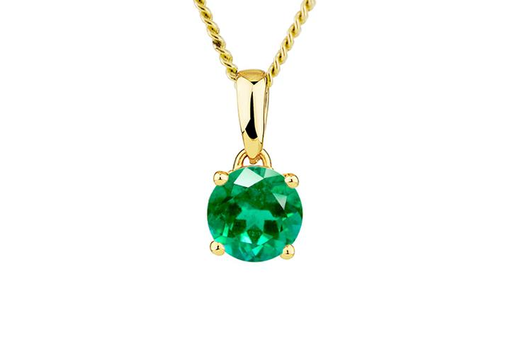 9ct Yellow Gold Emerald Pendant