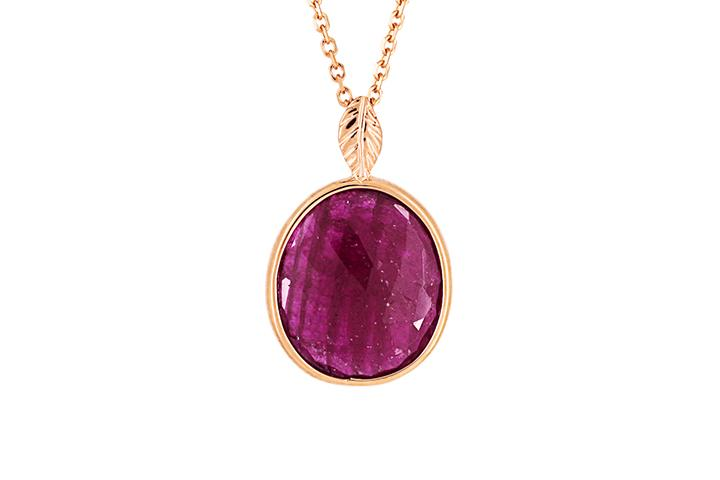 Ruby Slab Pendant in 9ct Rose Gold