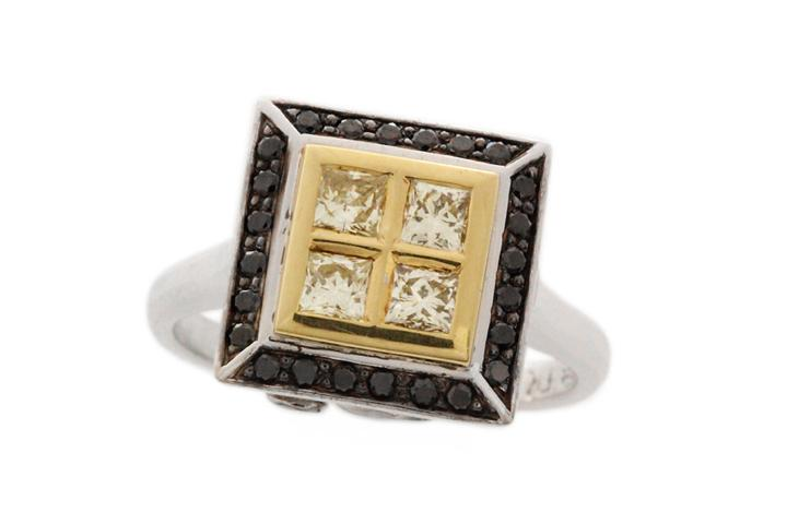 18ct White & Yellow Gold Princess Cut Diamond Ring - 50% OFF!