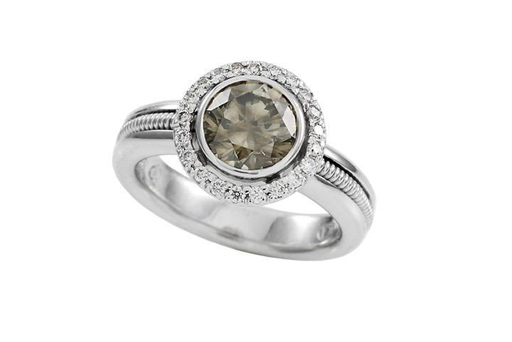 18ct White Gold and Fancy Brown Diamond Ring - 50% OFF!