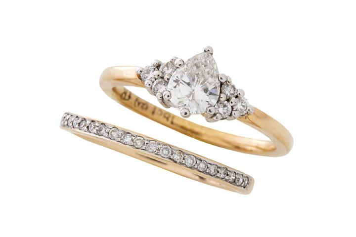 Pear Diamond Engagement Ring with Matching Diamond Wedding Band - 50% OFF!