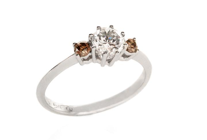 18ct White Gold Trilogy Ring with White and Brown Diamonds