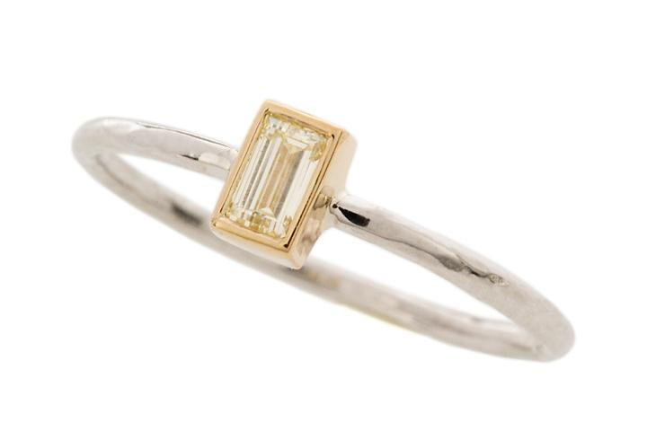 18ct Yellow and 9ct White Gold, Baguette Diamond Stacking Ring
