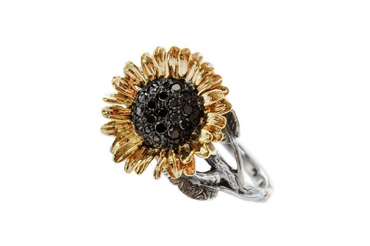 9ct & Silver Black diamond sunflower ring