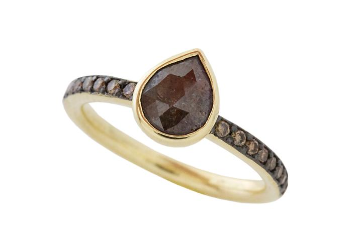 18ct Yellow Gold and Brown Polki Cut Diamond Ring