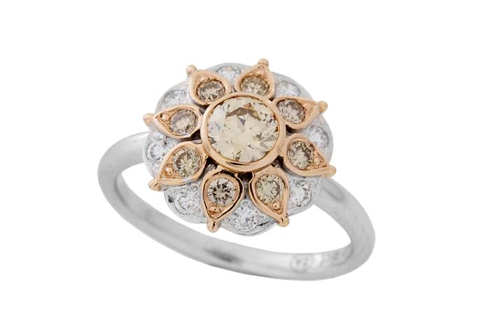 Champagne Diamond Antique Style Ring in 18ct and 9ct Gold