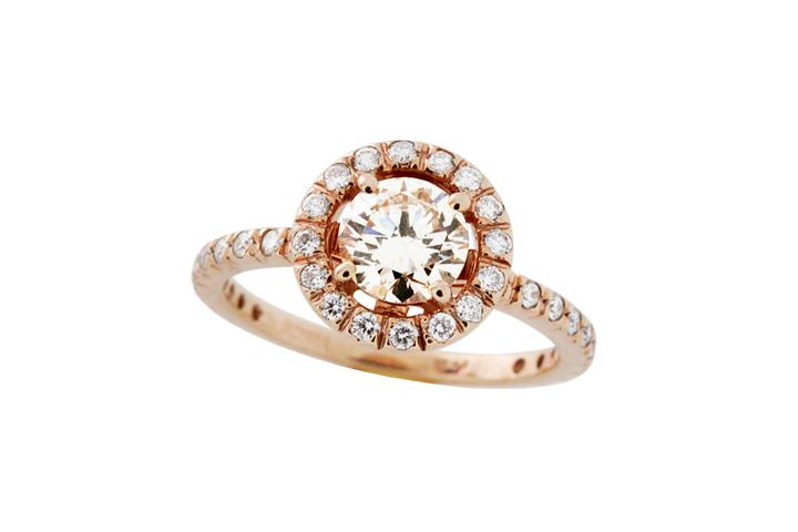 18ct Rose Gold and Diamond Halo Ring