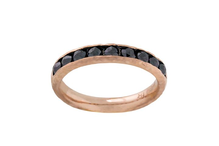 9ct Rose Gold and Black Diamond Half Eternity Ring