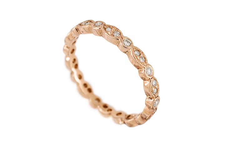 Rose Gold and Diamond Vintage Style Eternity Ring