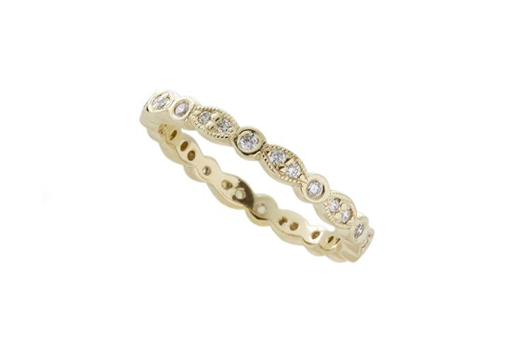 9ct Yellow Gold and Diamond Vintage Style Eternity Ring