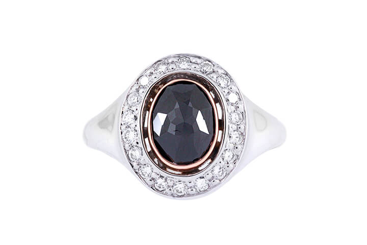 Black Diamond, 14ct White and Rose Gold Ring