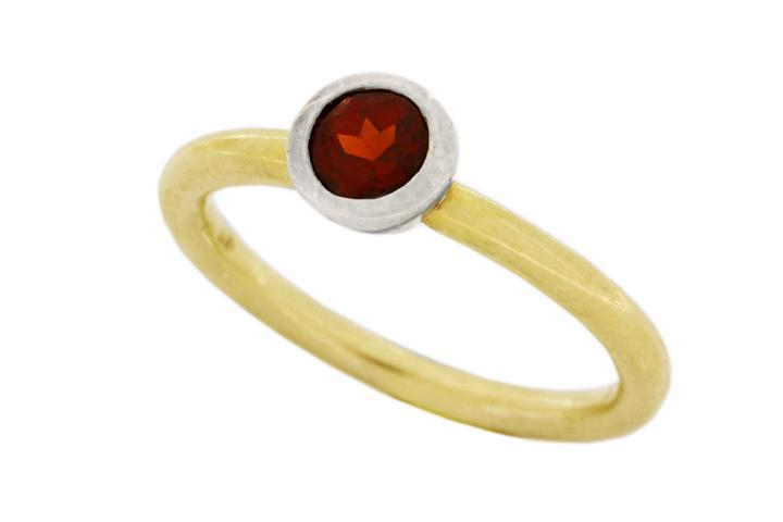 18ct Yellow Gold and Silver, Garnet Stacking Ring