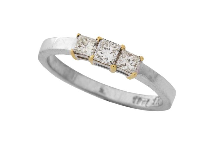 18ct White and Yellow Gold, Princess Cut Diamond Trilogy Ring - 50% OFF!