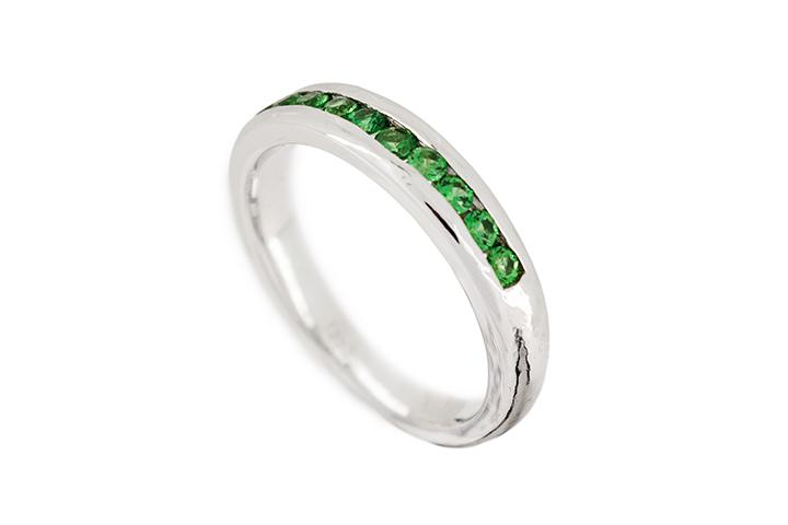 White Gold & Tsavorite Half Eternity Ring