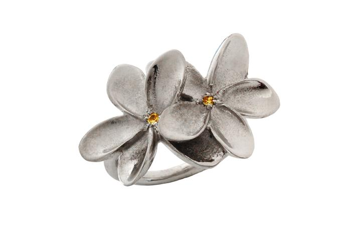 Silver Yellow Sapphire double frangipani ring