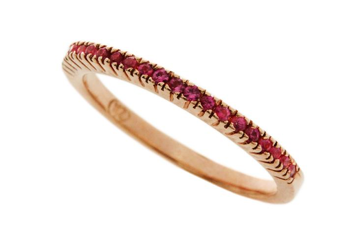 9ct Rose gold Pink sapphire half eternity ring