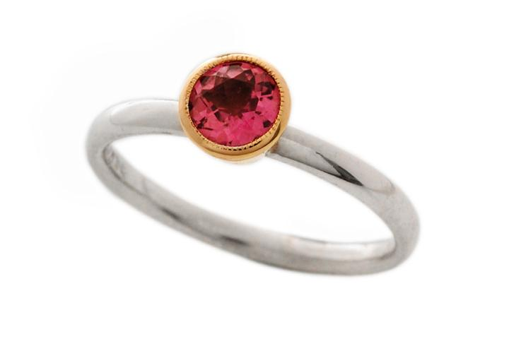 9ct Yellow Gold and Silver, Pink Tourmaline Stacking Ring