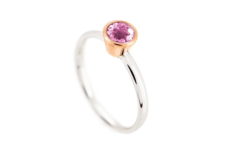 Pink Tourmaline (medium) Rose Gold & Silver Stacking Ring